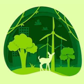 Papierstijl voor woord milieu dag ontwerp