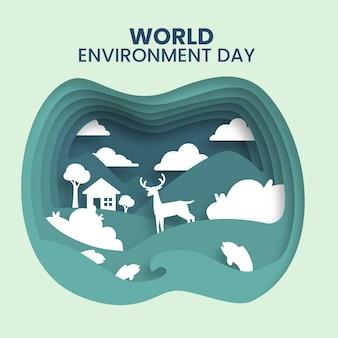 Papierstijl voor woord milieu dag