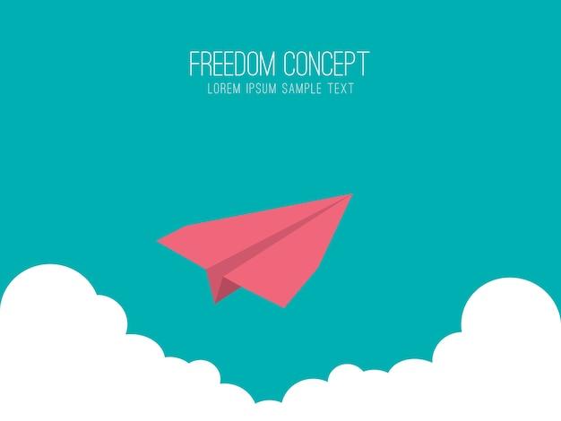 Papiervliegtuig in de lucht, vrijheid concept.