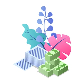 Papierwerk, bankieren, sparen, pensioen, salaris, uitbetaling van verzekeringen, krediet, lening, investering.