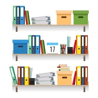 Papierwerk concept, bestanden met gegevens in gestapelde schoolboeken geïsoleerd op wit. documenten en mappen op planken instellen vectorillustratie