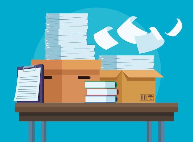 Papierwerk documenten in bureau