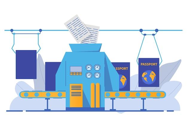 Papierwerkpaspoort met biometrische gegevens. transportband productiedocument.
