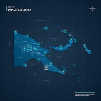 Papoea-nieuw-guinea kaart met blauwe neonlichtpunten