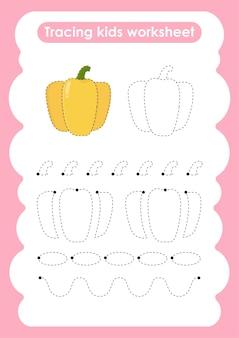 Paprika traceerlijnen schrijven en tekenen oefenwerkblad voor kinderen