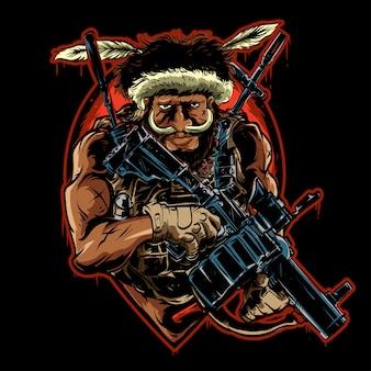 Papuanese met wapen