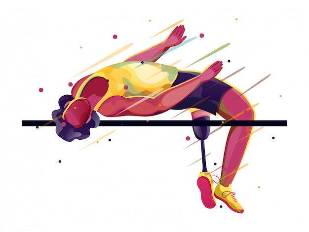 Para-atleet op hoogspringen.