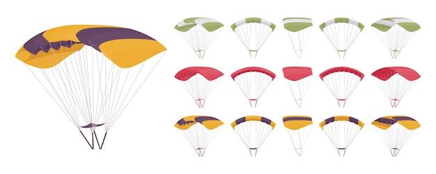 Parachuteapparatuur op wit wordt geïsoleerd dat