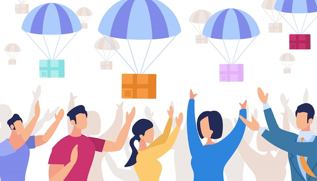 Parachutes met dozen vallen uit de lucht
