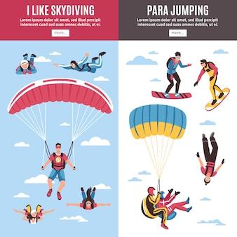 Parachutespringen banners set