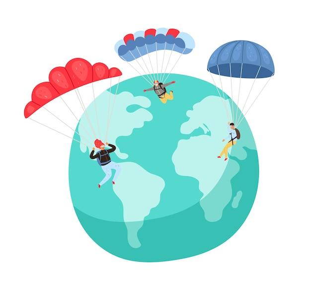 Parachutespringen hobby. mensen met parachutes.