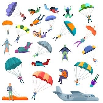 Parachutespringen iconen set, cartoon stijl