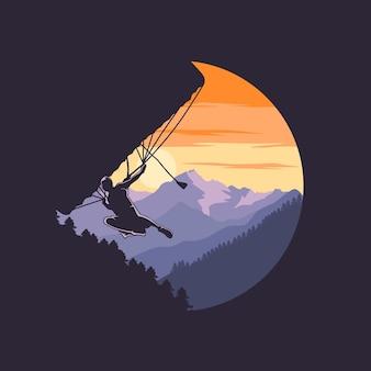 Parachutespringen parachute met bergachtergrond