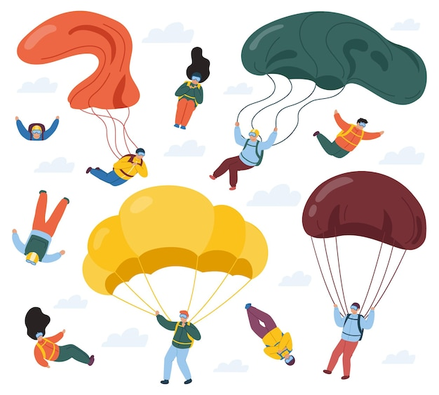 Parachutisten met valschermen op wit wordt geïsoleerd