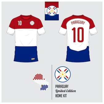 Paraguay voetbal jersey of voetbal kit sjabloon