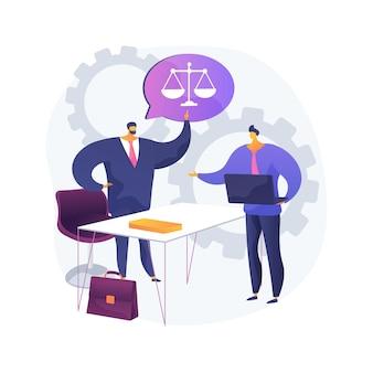 Paralegal diensten abstract concept illustratie. gedelegeerd juridisch werk, bestanden ordenen, documenten opstellen, juridisch onderzoek, advocatenkantoor, verslag schrijven, procesvoering