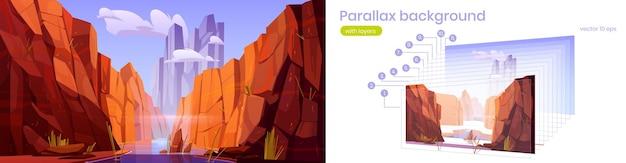 Parallax achtergrond grand canyon met rivier, nationaal park van arizona, rode zandsteen bergen, horizon met zand rotsen en lucht, natuur landschap gescheiden op lagen voor spel, cartoon 2d vector scène