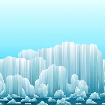 Parallax achtergrond van ijsbergen en de zee