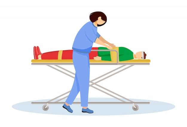 Paramedicus met gewonde patiënt op brancard vlakke afbeelding. spoedeisende zorg, reanimatie, reanimatie. hulpverlener, dokter. emt, arts stripfiguur geïsoleerd op wit