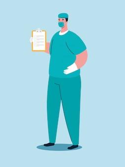 Paramedicus met medisch masker tijdens covid 19 pandemie