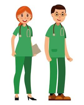 Paramedicus team vlakke stijl vector illustratie
