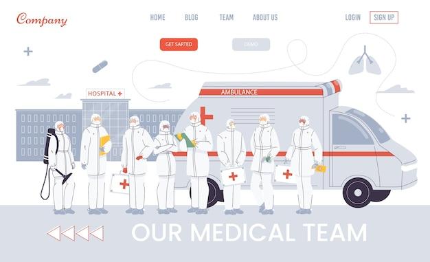 Paramedisch ambulanceteam, spoedhulpverlener in pandemische toestand. online presentatie van noodhulpdiensten in het ziekenhuis. beroep in de gezondheidszorg. medisch personeel dat zich bij auto bevindt. ontwerp van bestemmingspagina's