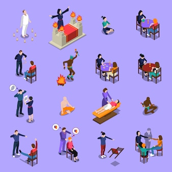 Paranormal abilities isometric set