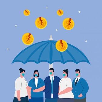 Paraplu die bedrijfsmensen beschermt, inmmune coronavirusconcept