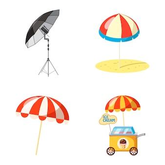 Paraplu geïsoleerde set. cartoon set paraplu