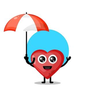 Paraplu houdt van schattige karaktermascotte