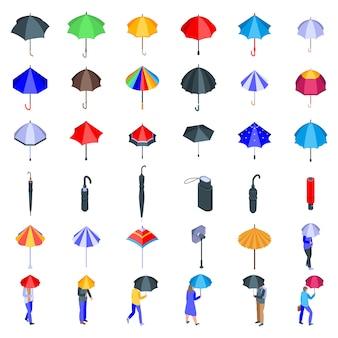 Paraplu iconen set, isometrische stijl