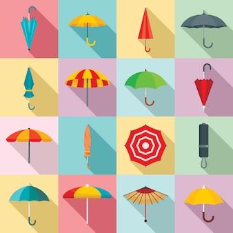 Paraplu iconen set, vlakke stijl