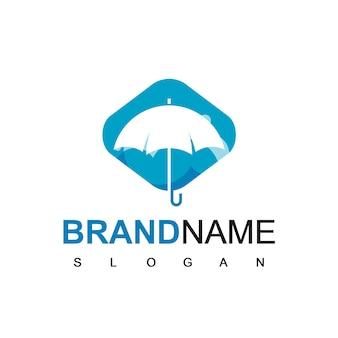 Paraplu logo silhouet op blauwe achtergrond