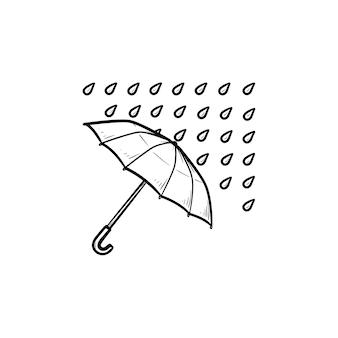 Paraplu met regendruppels hand getrokken schets doodle pictogram. regenklimaat, regenbescherming en beschuttingsconcept
