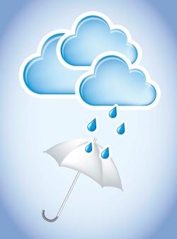 Paraplu met wolken en druppels over hemel achtergrond vectorillustratie