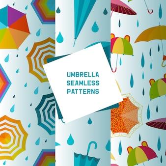 Paraplu open en gesloten set van naadloze patronen