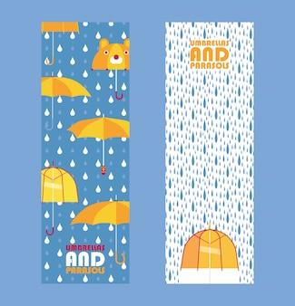 Paraplu's en parasols slaan banner op,