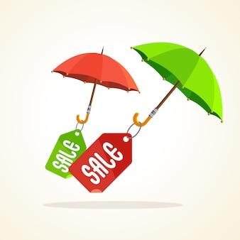 Paraplu's met verkoopstickers, tags en labels. lente, herfst, zomer.
