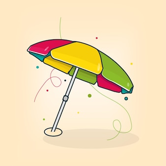 Paraplu strand zomer vibes platte vectorillustratie
