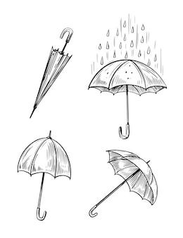 Paraplu. vector schetsillustraties