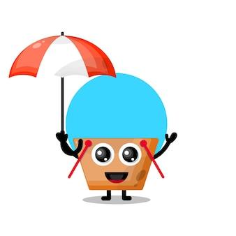 Paraplu winkelwagentje schattig karakter mascotte
