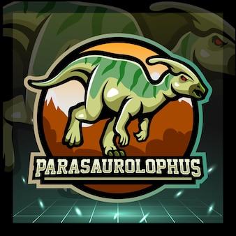 Parasaurolophus mascotte esport logo ontwerp
