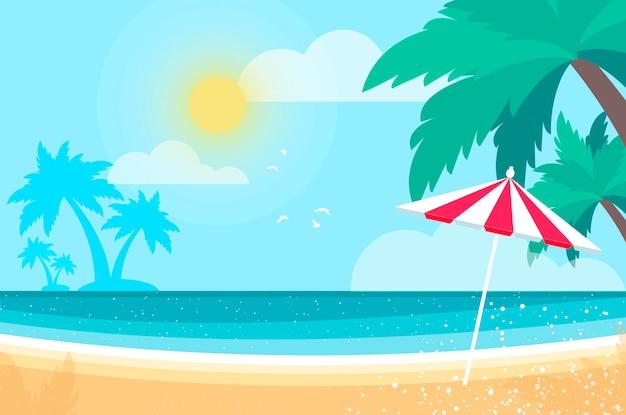 Parasol onder de palmboom op seashore