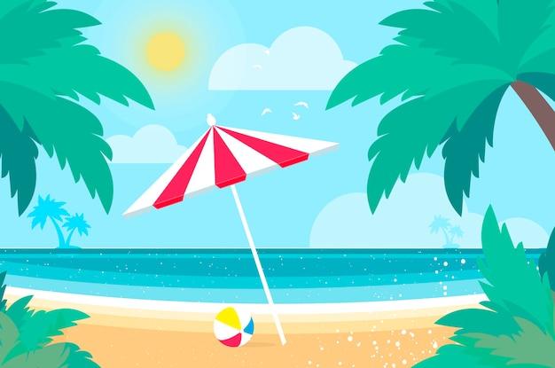 Parasols onder de palmboom op seashore