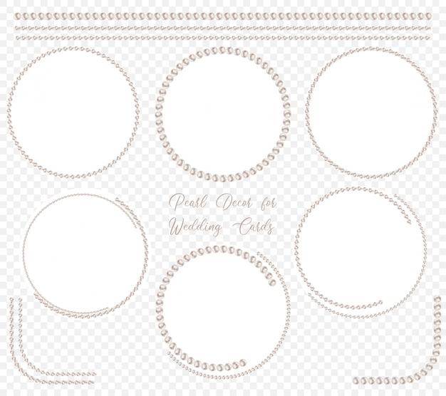 Parel cirkelkader ingesteld voor bruiloft decoratie