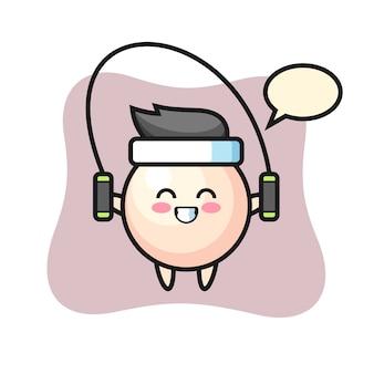 Parel karakter cartoon met springtouw