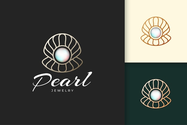 Parel- of sieradenlogo in luxe en elegante pasvorm voor schoonheids- of cosmetische industrie
