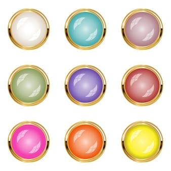 Parel sieraden ontwerpen grens gouden icon set stijl glanzend licht.