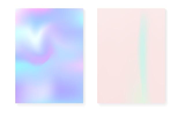 Parelmoer achtergrond met holografische gradiënt. hologram hoezenset. retro-stijl uit de jaren 90, 80. grafische sjabloon voor brochure, banner, behang, mobiel scherm. retro parelmoer achtergrond instellen.