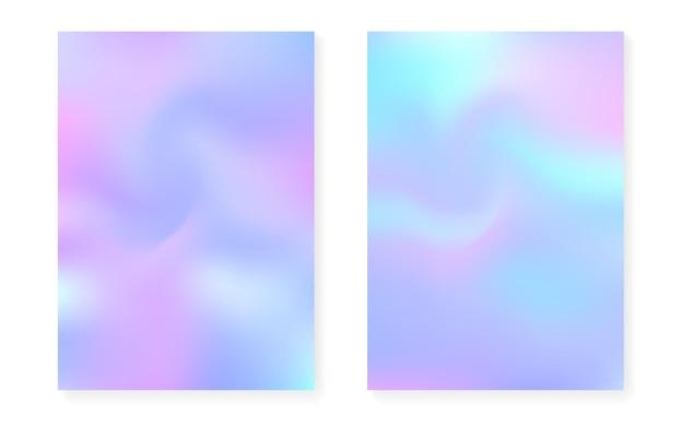 Parelmoer achtergrond met holografische gradiënt. hologram hoezenset. retro-stijl uit de jaren 90, 80. grafische sjabloon voor brochure, banner, behang, mobiel scherm. stijlvolle parelmoer achtergrond set.